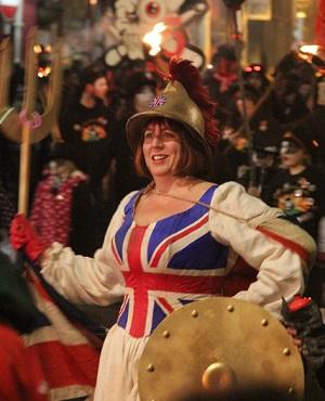 Britannia costume at the Hastings bonfire procession.