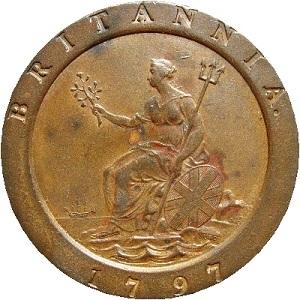 A 1797 penny featuring Britannia sitting down.