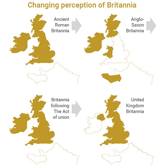 A map showing the changing perception of Britannia.