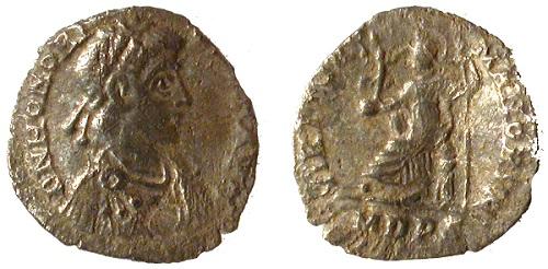 Roman coin showing Britannia on the reverse.