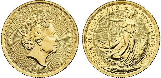 The 2020 gold half-ounce Britannia, a £50 coin.