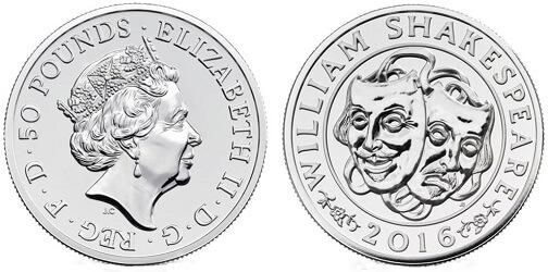 The 2016 Shakespeare silver £50 coin.