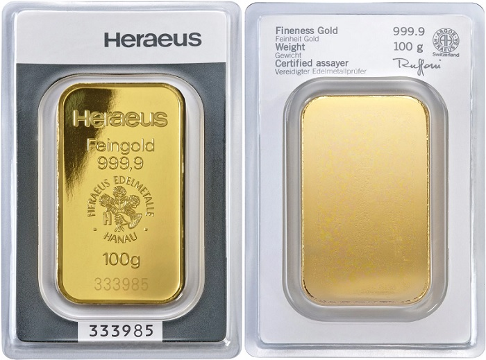Gold bars produced by Heraeus with the Argor-Heraeus logo on the packaging.
