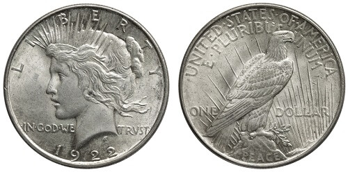 The American 'Peace Dollar' a common junk silver coin.