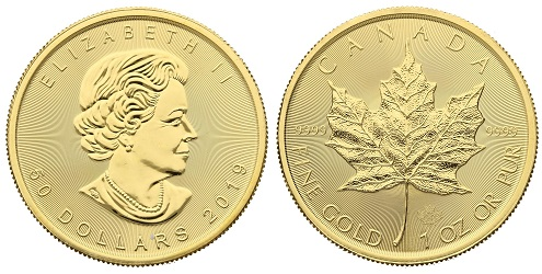 The gold Maple Leaf coin, produced by the Royal Canadian Mint.