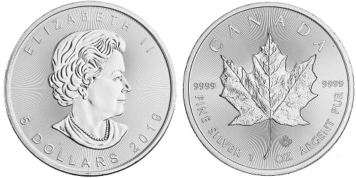 The silver Maple Leaf coin, produced by the Royal Canadian Mint.
