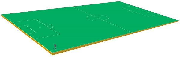 Graphic showing all the gold that has ever been mined on a football pitch.