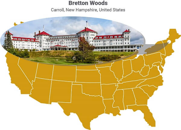 A map showing the location of Bretton Woods, where the financial system was agreed.