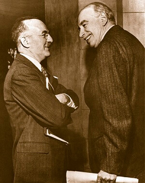 Harry White and John Maynard Keynes two of the leading figures at the Bretton Woods conference.