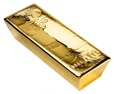 A pure, smelted gold bar.