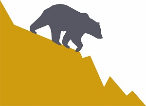 A graphic showing a bear market.