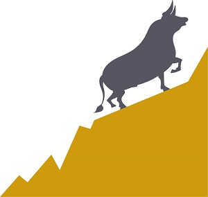 A graphic showing a bull market.