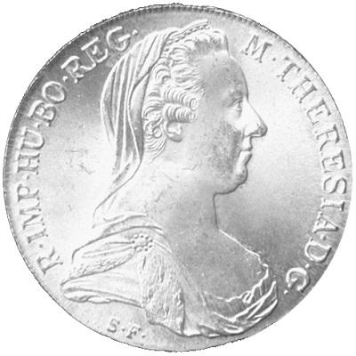 An Austrian Maria Theresa Thaler silver coin.
