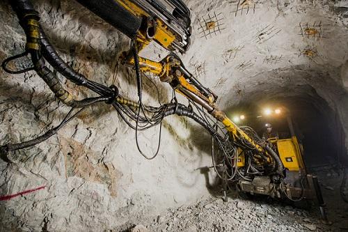 Gold mining underground.