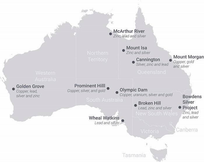 Map of Australia's silver mines.