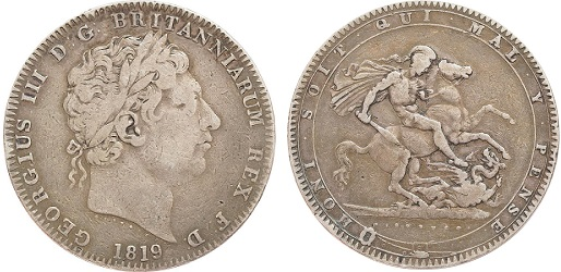 An 1819 silver Crown coin, sometimes mistaken for a silver Sovereign.
