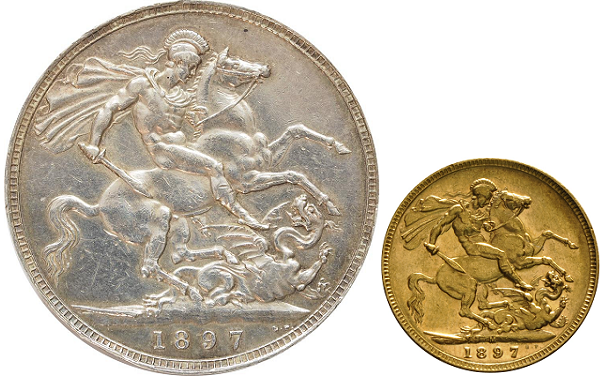 A comparison between an 1897 silver Crown and an 1897 gold Sovereign.
