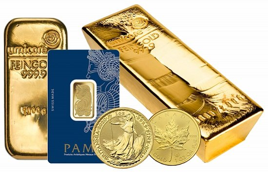 A collection of 999 gold coins and bars.