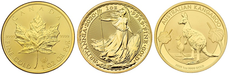 Three gold coins struck from 999.9 gold.