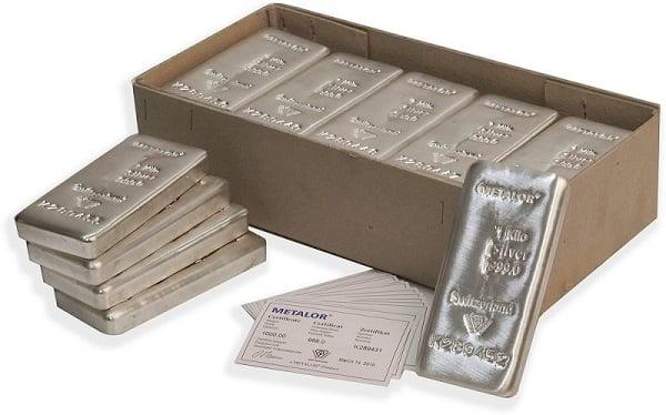 Pure silver bars.